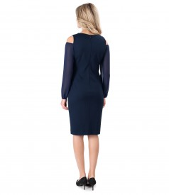 Elastic jersey dress with veil sleeves
