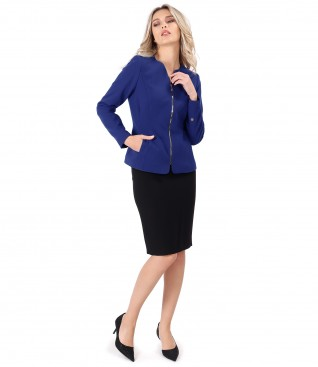 Office outfit with jacket and skirt made of elastic fabric