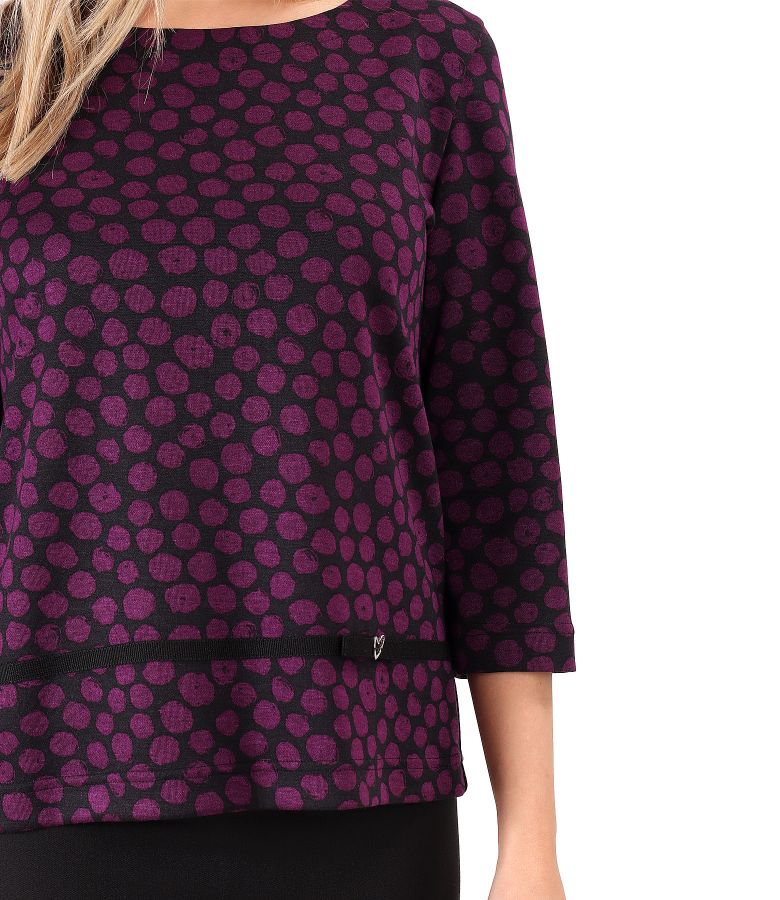 Elastic jersey blouse with print