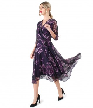 Printed veil elegant dress