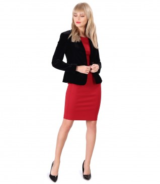 Elastic jersey dress with velvet jacket
