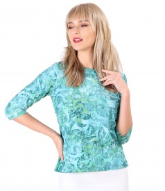 Blouse made of jersey with embossed pattern