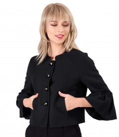 Jacket with wide wristbands made of cotton with organic wool