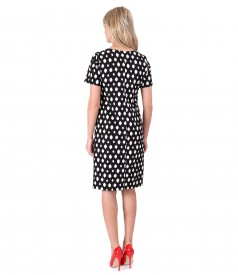 Printed elastic fabric dress with geometric motifs