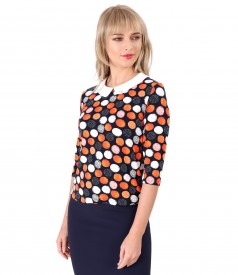 Blouse with round collar and crystals inserts