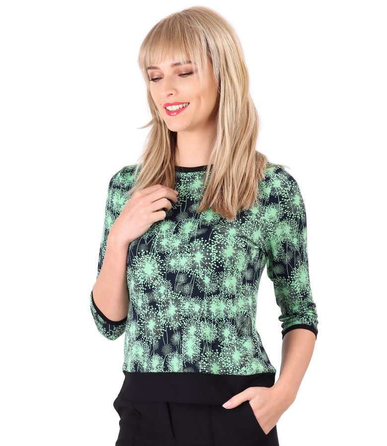 Elastic jersey blouse with contrast trim