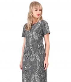 Dress made of printed elastic fabric
