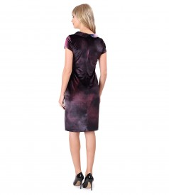 Elastic velvet dress with crystals inserts