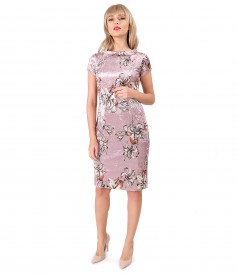 Elastic velvet dress with inserts of crystals Swarovski