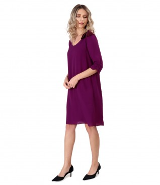 Viscose dress with bow and crystals inserts
