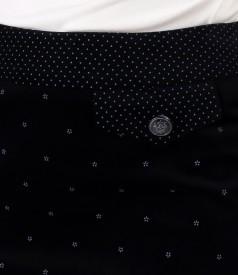 Elastic velvet skirt with printed cotton