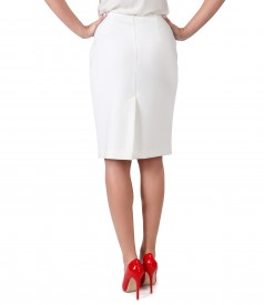 Office skirt with waist contrast trim