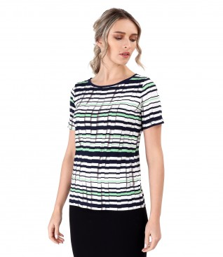 Elastic jersey blouse printed with stripes