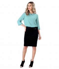 Elegant outfit with viscose blouse and velvet skirt with flowers