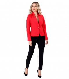Jacket with tunic collar and anckle pants