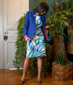 Printed cotton dress with jacket with tunic collar