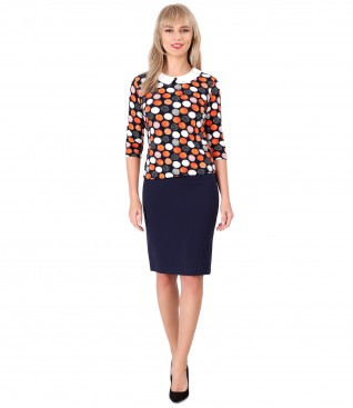 Blouse with round collar and tapered skirt