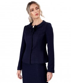 Viscose loops jacket with neckline brooch