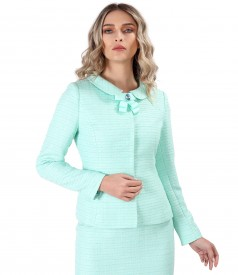 Jacket made of viscose loops with brooch on the decolletage