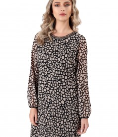 Casual veil dress with animal print beads