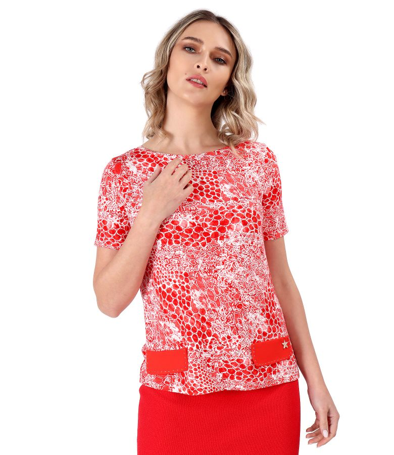 Elastic jersey blouse with 3d leopard print