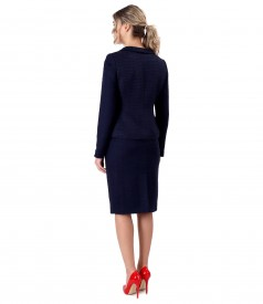 Office women suit with skirt and jacket with viscose loops.