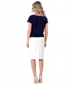 Office outfit with blouse with stripes and skirt made of loops