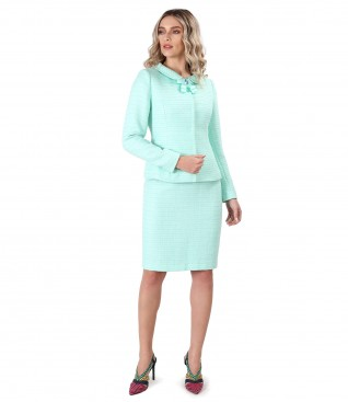 Office woman suit with jacket and viscose loops skirt