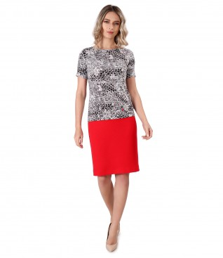 Tapered dress with elastic jersey blouse with leopard print