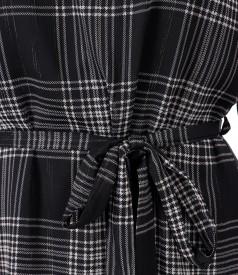 Veil dress plaid with belt
