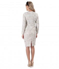 Office woman suit with skirt and loops jacket with sequins and thread effect