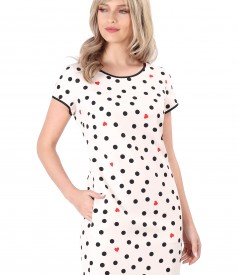 Midi dress printed with dots and hearts