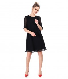 Veil dress with 3/4 sleeves