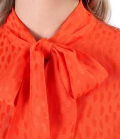 Viscose blouse with scarf collar