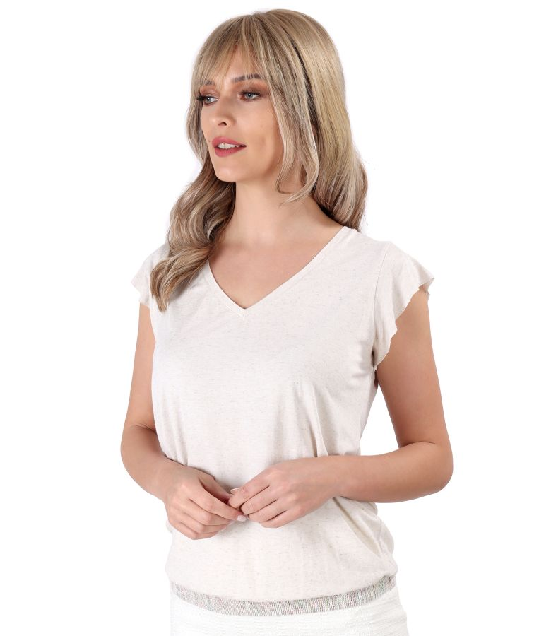 Blouse made of blend elastic jersey with viscose and flax
