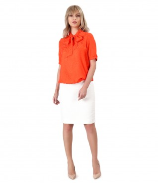 Viscose blouse with loops tapered skirt