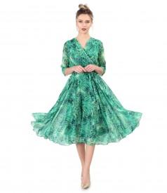 Printed veil elegant dress