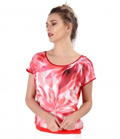 Blouse with veil front printed with flowers