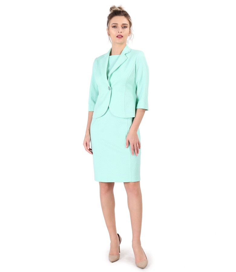 Office suit with jacket and midi dress made of textured cotton