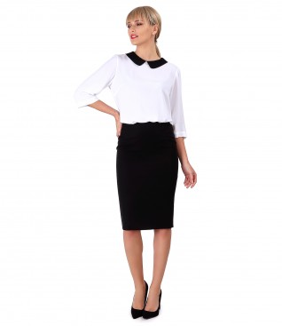 Viscose blouse with collar and tapered skirt