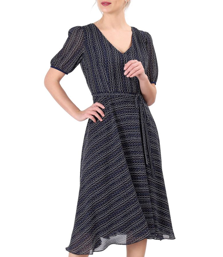 Elegant dress made of printed veil with stripes