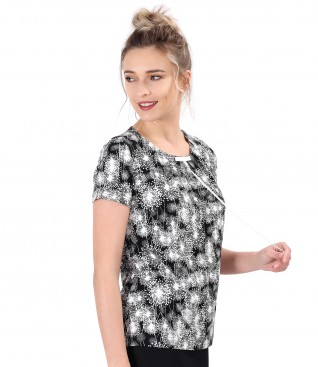 Printed elastic jersey blouse with rips bow on the decolletage
