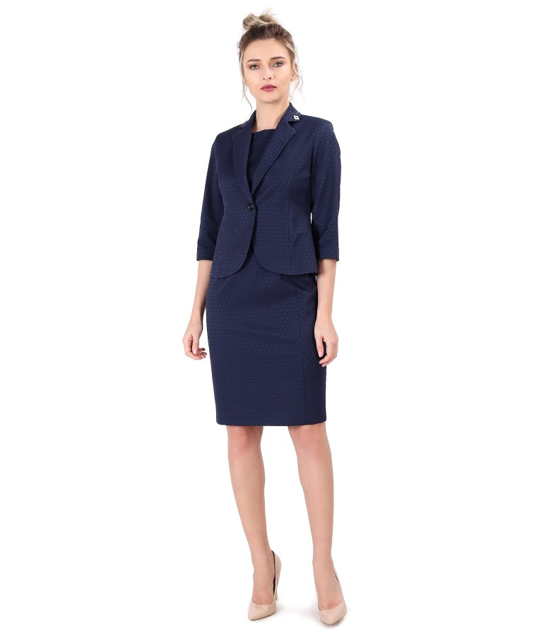 Office woman suit with dress and jacket made of textured cotton