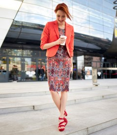 Textured cotton jacket with viscose dress