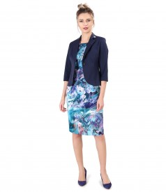Dress printed with floral motifs and textured cotton jacket