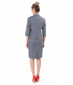 Womens office suit with striped cotton dress and jacket