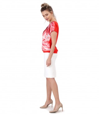 Blouse with printed veil front and tapered skirt