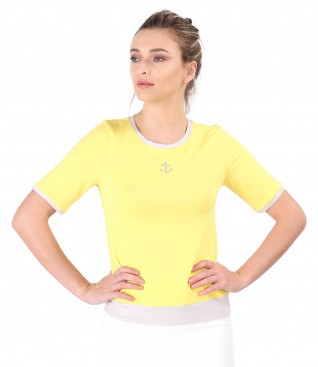 Elastic jersey blouse with ornament on the face