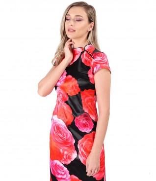 Elegant dress with tunic collar