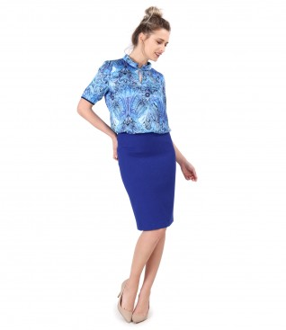 Tapered skirt with blouse printed with floral motifs
